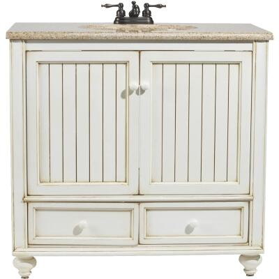 Sunny Wood Bristol Beach White 36 In. W x 34 In. H x 21 In. D Vanity Base, 2 Door/2 Drawer