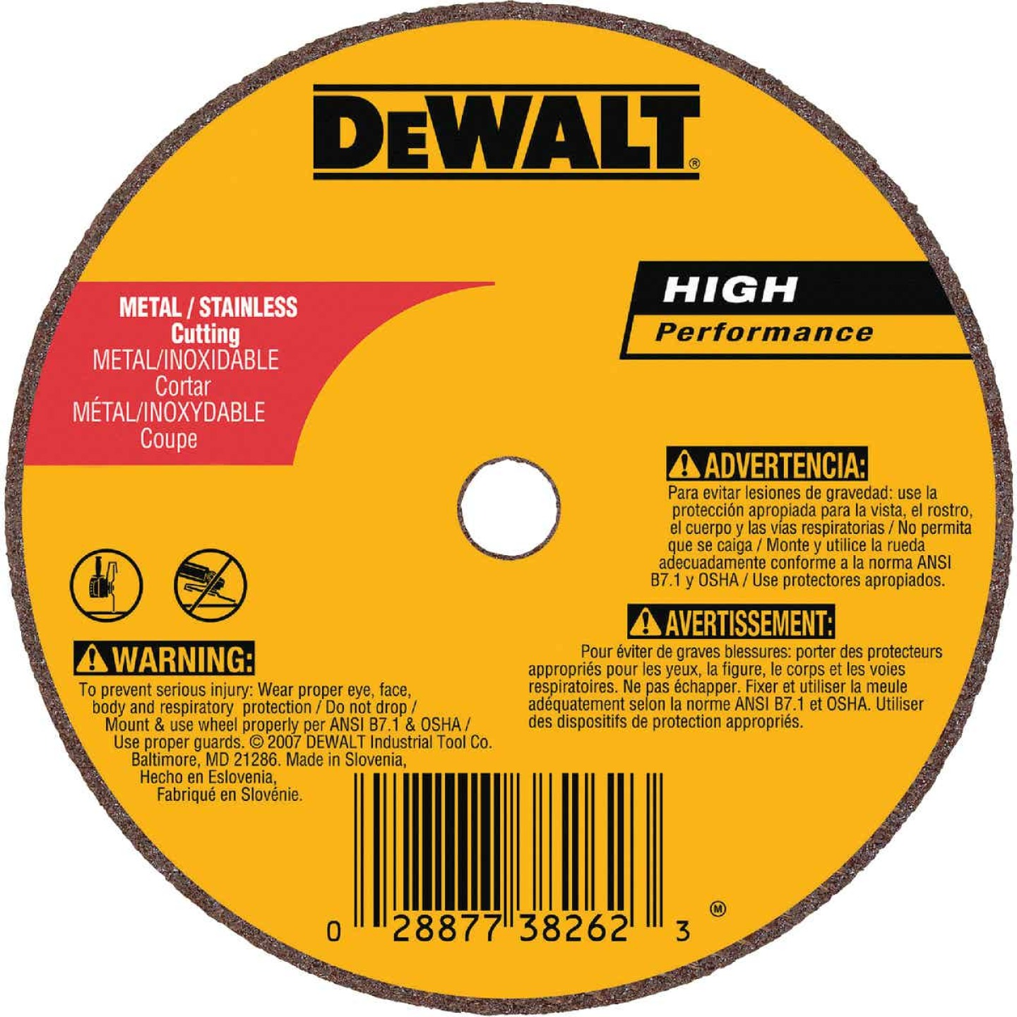 DeWalt HP Type 1 3 In. x 1/16 In. x 3/8 In. Metal/Stainless Cut-Off Wheel Image 1
