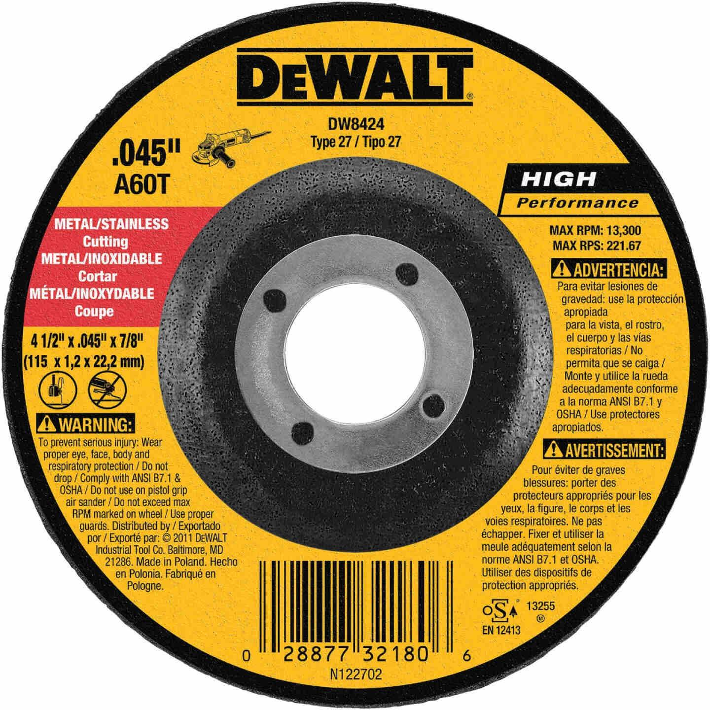 DeWalt HP Type 27 4-1/2 In. x 0.045 In. x 7/8 In. Metal/Stainless Cut-Off Wheel Image 1