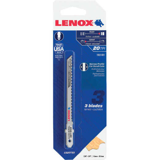 Lenox T-Shank 3-5/8 In. x 20 TPI High Carbon Steel Jig Saw Blade, Clean Scroll Soft Wood (3-Pack)